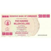 Zimbabvė. 2008 m. 500.000.000 dolerių. P60. UNC