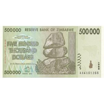 Zimbabvė. 2008 m. 500.000 dolerių. P76. UNC