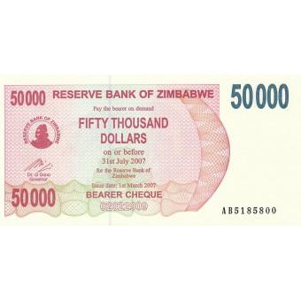 Zimbabvė. 2007 m. 50.000 dolerių. P47. UNC