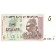 Zimbabvė. 2007 m. 5 doleriai. P66. UNC