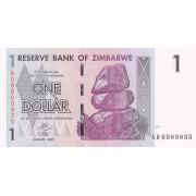 Zimbabvė. 2007 m. 1 doleris. P65. UNC