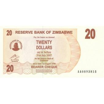 Zimbabvė. 2006 m. 20 dolerių. P40. UNC