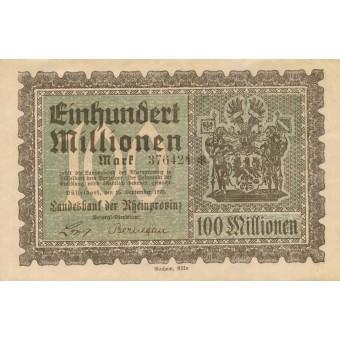 Vokietija / Diuseldorfas. 1923 m. 100.000.000 markių