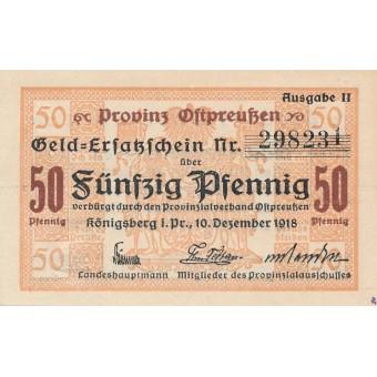 Karaliaučius. 1918 m. 50 pfennigų. Ausgabe II