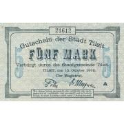 Tilžė. 1918 m. 5 markės. ENTWERTET