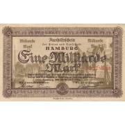 Vokietija / Hamburgas. 1923 m. 1.000.000.000 markių