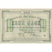 Tilžė. 1918 m. 10 markių. ENTWERTET. VF