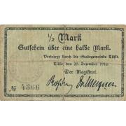 Tilžė. 1916 m. 1/2 markės. 4 skaičiai