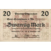 Karaliaučius. 1918 m. 20 markių. F-
