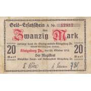 Karaliaučius. 1918 m. 20 markių. VF-