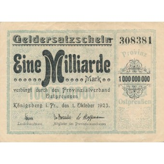 Karaliaučius. 1923 m. 1.000.000.000 markių