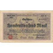 Vokietija / Kelnas. 1923 m. 100.000 markių