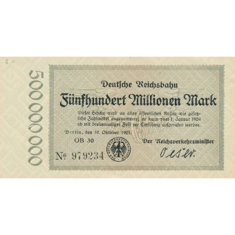 Vokietija. 1923 m. 500.000.000 markių