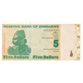 Zimbabvė. 2009 m. 5 doleriai. P93. UNC