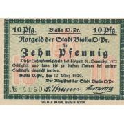 Bialla. 1920 m. 10 pfennigų