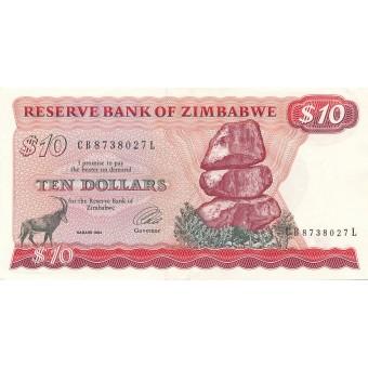 Zimbabvė. 1994 m. 10 dolerių