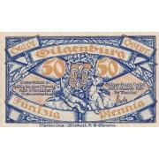 Gilgenburg / Dabrowno. 1920 m. 50 pfennigų. UNC