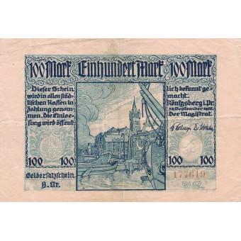 Karaliaučius. 1922 m. 100 markių