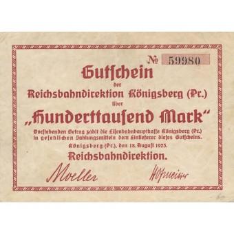 Karaliaučius. 1923 m. 100.000 markių