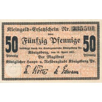 Karaliaučius. 1917 m. 50 pfennigų. aUNC