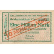 Karaliaučius. 1923 m. 10.000.000.000 ant 1.000.000 markių. RETAS
