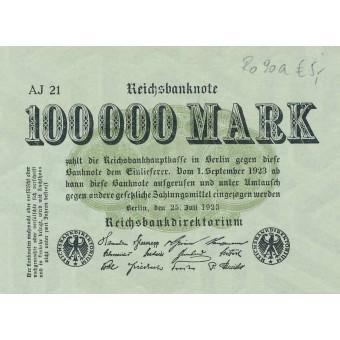 Vokietija. 1923 m. 100.000 markių