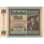 Vokietija. 1922 m. 5.000 markių. aUNC