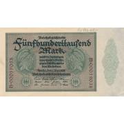 Vokietija. 1923 m. 500.000 markių