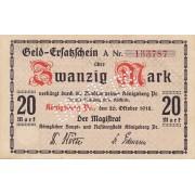 Karaliaučius. 1918 m. 20 markių. Perforuotas