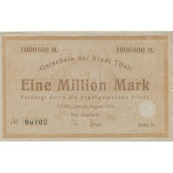Tilžė. 1923 m. 1.000.000 markių. Serija: D