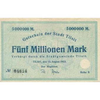 Tilžė. 1923 m. 5.000.000 markių. Serija: B