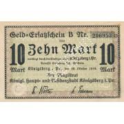 Karaliaučius. 1918 m. 10 markių. Perforuotas