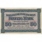 Rytų Skolinamoji Kasa. 1918 m. 50 markių. Serija: B