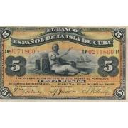 Kuba. 1896 m. 5 pesai