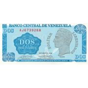 Venesuela. 1989 m. 2 bolivarai