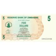 Zimbabvė. 2006 m. 5 doleriai. P38. UNC