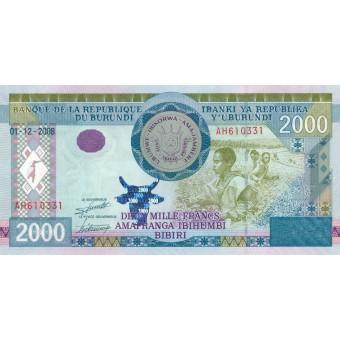 Burundis. 2008 m. 2.000 frankų. UNC
