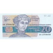 Bulgarija. 1991 m. 20 levų. P100. UNC