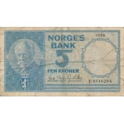 Norvegija. 1959 m. 5 kronos