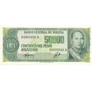 Bolivija. 1984 m. 50.000 bolivianų. UNC