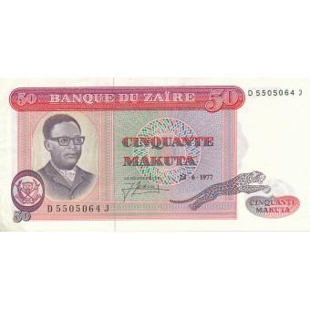 Zairas. 1977 m. 50 makuta