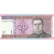 Lietuva. 2007 m. 20 litų. UNC. Replacement