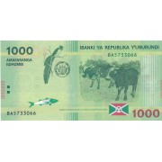 Burundis. 2015 m. 1.000 frankų. P51. UNC
