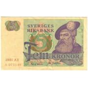Švedija. 1981 m. 5 kronos