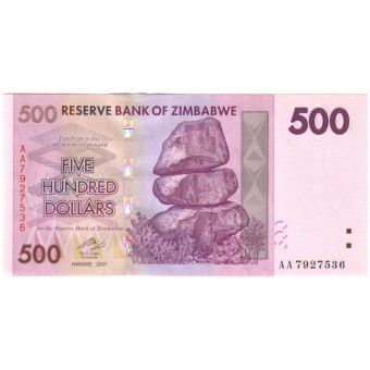 Zimbabvė. 2007 m. 500 dolerių. P70. UNC