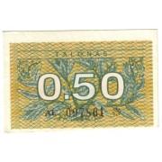 Lietuva. 1991 m. 0.50 talono. Be užrašo. Serija: AL
