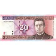 Lietuva. 2001 m. 20 litų. UNC. Replacement