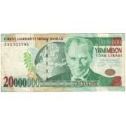Turkija. 2001 m. 20.000.000 lyrų