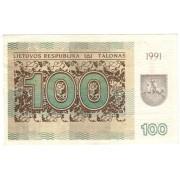 Lietuva. 1991 m. 100 talonų. Be užrašo. aUNC